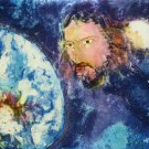 Original Batik Art Painting on Cotton, 'Jesus with Earth' by Kapitan (90cm x 75cm)