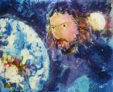 Original Batik Art Painting on Cotton, 'Jesus with Earth' by Kapitan (90cm x 75cm)