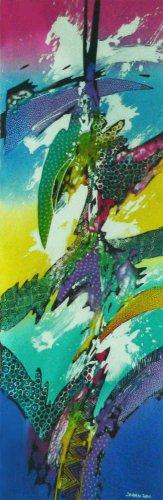 Original Batik Art Painting on Cotton, 'Abstract' by Johan (30cm x 100cm)