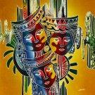 Original Batik Art Painting on Cotton, 'Mask' by Johan (45cm x 50cm)