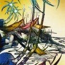 Original Batik Art Painting on Cotton, 'Fishing Village' by Jeffri (45cm x 150cm)