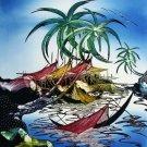 Original Batik Art Painting on Cotton, 'Fishing Village' by Jeffri (75cm x 90cm)