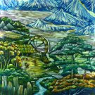 Original Batik Art Painting on Cotton, 'Highlands' by Hamidi (75cm x 90cm)