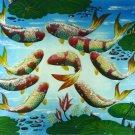 Original Batik Art Painting on Cotton, 'Koi Fish' by Hamidi (90cm x 75cm)
