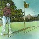 Original Batik Art Painting on Cotton,'Golfer' by Hamidi (90cm x 75cm)