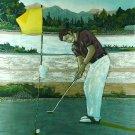 Original Batik Art Painting on Cotton, 'Golfer' by Hamidi (75cm x 90cm)