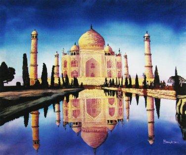 Original Batik Art Painting on Cotton, 'Taj Mahal' by Hamidi (90cm x 75cm)