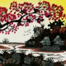 Original Batik Art Painting on Cotton, 'Village Scenery' by Hamidi (150cm x 45cm)