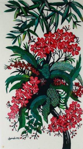 Original Batik Art Painting on Cotton, 'Wild Flowers' by Hamidi (45cm x 75cm)