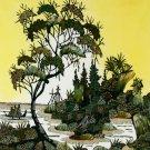 Original Batik Art Painting on Cotton, 'Village Scenery' by Hamidi (45cm x 50cm)