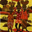 Original Batik Art Painting on Cotton, 'Fruit Sellers' by Agung (45cm x 50cm)