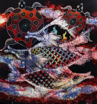 Original Batik Art Painting on Cotton, 'Fish and Longevity' by Agung (50cm x 45cm)