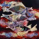 Original Batik Art Painting on Cotton, 'Fish and Prosperity' by Agung (45cm x 50cm)