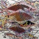 Original Batik Art Painting on Cotton, 'Fish and Prosperity' by Agung (45cm x 50cm)
