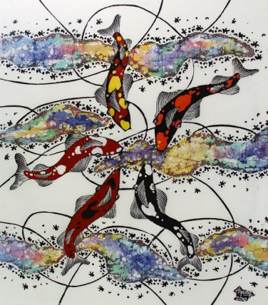 Original Batik Art Painting on Cotton, 'Koi Fish' by Agung (45cm x 50cm)