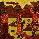 Original Batik Art Painting on Cotton, 'Village Traders' by Agung (75cm x 45cm)