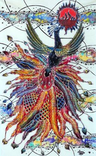 Original Batik Art Painting on Cotton, 'Phoenix' by Agung (45cm x 75cm)