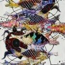 Original Batik Art Painting on Cotton, 'Fish and Longevity' by Agung (45cm x 75cm)