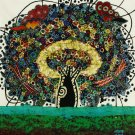 Original Batik Art Painting on Cotton, 'Tree of Life' by Agung (45cm x 50cm)