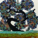 Original Batik Art Painting on Cotton, 'Tree of Wealth' by Agung (45cm x 50cm)