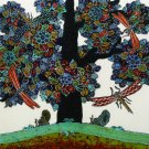 Original Batik Art Painting on Cotton, 'Tree of Wealth' by Agung (50cm x 45cm)