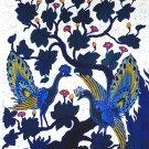Original Batik Art Painting on Cotton, 'Peacocks on a Tree' by Agung (75cm x 90cm)