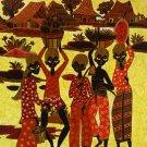 Original Batik Art Painting on Cotton, 'Fruit Sellers' by Agung (75cm x 90cm)