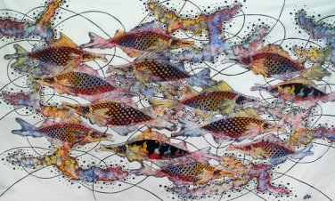 Original Batik Art Painting on Cotton, 'Fish and Prosperity' by Agung (150cm x 90cm)