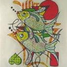 Original Batik Art Painting on Cotton, 'Fish' by Azrul (75cm x 90cm)