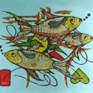 Original Batik Art Painting on Cotton, 'Fish' by Azrul (90cm x 75cm)
