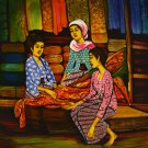 Original Batik Art Painting on Cotton, 'A Material Affair' by Dolah (75cm x 90cm)