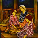 Original Batik Art Painting on Cotton, 'Playing Congkak' by Dolah (45cm x 75cm)
