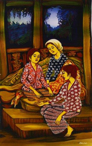 Original Batik Art Painting on Cotton, 'Playing Congkak' by Dolah (45cm x 75cm)