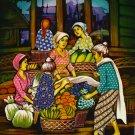 Original Batik Art Painting on Cotton, 'Market' by Dolah (75cm x 90cm)