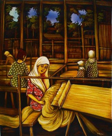 Original Batik Art Painting on Cotton, 'Weaving Lady' by Dolah (75cm x 90cm)