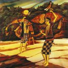 Original Batik Art Painting on Cotton, 'Playing Wau Bulan' by Dolah (75cm x 90cm)