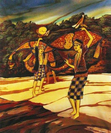 Original Batik Art Painting on Cotton, 'Playing Wau Bulan' by Dolah (75cm x 90cm)