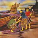Original Batik Art Painting on Cotton, 'Fishermen' by Dolah (75cm x 90cm)