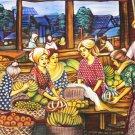 Original Batik Art Painting on Cotton, 'Market' by Dolah (150cm x 90cm)