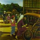 Original Batik Art Painting on Cotton, 'Rickshaw' by Dolah (75cm x 90cm)