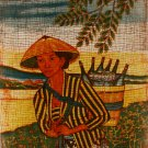 Original Batik Art Painting on Cotton, 'Lady with Basket of Bottles' by Dzakaria (45cm x 75cm)