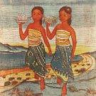 Original Batik Art Painting on Cotton, 'Dancing Girls' by Dzakaria (45cm x 75cm)