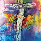 Original Batik Art Painting on Cotton, 'Jesus on Cross' by Kapitan (75cm x 90cm)