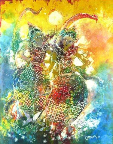 Original Batik Art Painting on Cotton, 'Traditional Dancers' by Kapitan (75cm x 90cm)