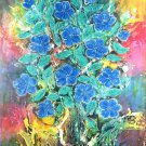 Original Batik Art Painting on Cotton, 'Flower' by Kapitan (90cm x 150cm)