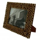 "Hand-crafted Natural Bamboo Dot Picture Frame Two-ways (6""×8"" or 8""x6"") With Stand"