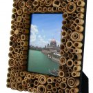 "Hand-crafted Natural Bamboo Dot Picture Frame Two-ways (4""×6"" or 6""x4"") With Stand"