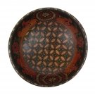 Hand-crafted Wooden Bowl with Batik Motives (17cm Diameter)