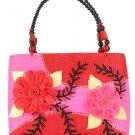 Decorative Sinamay Native bag with Beaded Handles