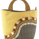 Decorative Sinamay Native bag with Wooden Handles